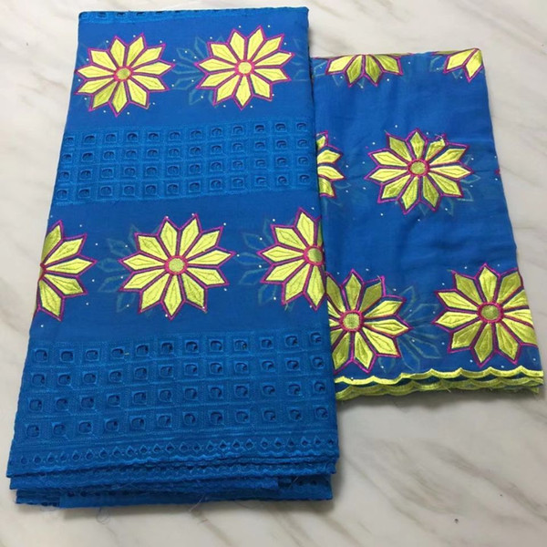 5yards fashionable blue african cotton fabric with yellow flower embroidery and 2yards french net lace set for dress bc39-8, Black;white