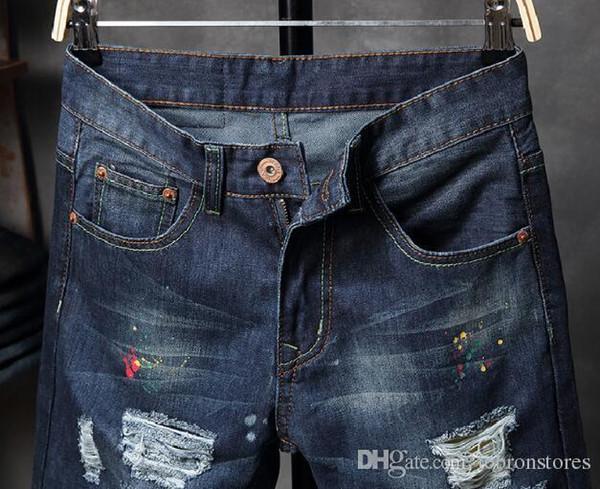 Compre Pantalones De Diseñador Jeans De Moda Marca De Marea Pantalones De Ciclismo De Mezclilla Para Hombre Pantalones Europa Y Estados Unidos Parche