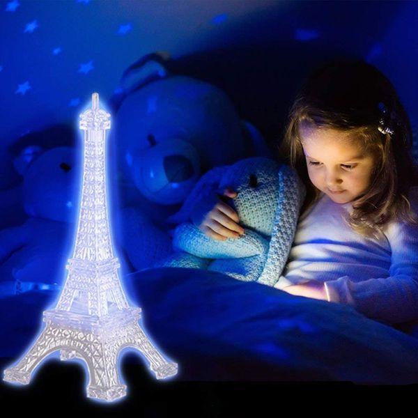 BRELONG Eiffel Tower Night Lights Acrylic Multicolor Illuminated Desk Night Lights Children Christmas Gifts Holiday Bedroom Decoration Light