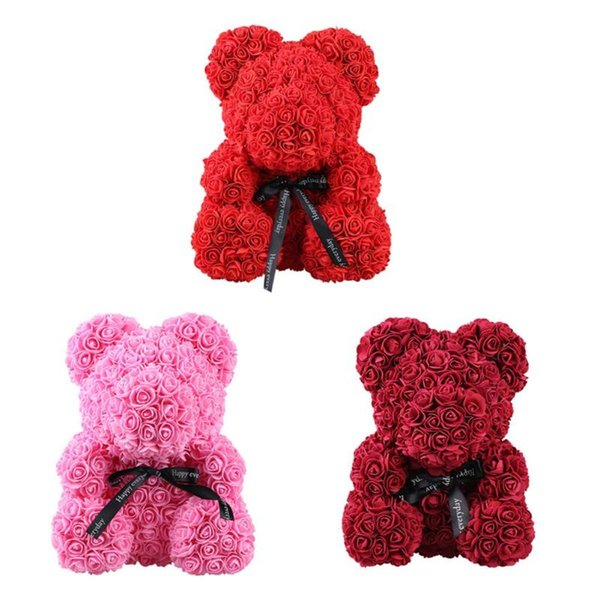 25/35/38/40cm Bear Rose Teddy Bear/Dog Flower Artificial Decoration Christmas Women Girlfriends Valentines Wedding Romantic Gift