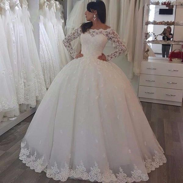 Illusion Bodice Long Sleeves Ball Gown Wedding Dresses 2020 Spring Fall Winter Wedding Gowns vestido de noiva