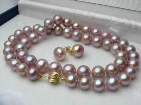 Jewelryr Pearl Set 7-8MM Natural Purple Akoya Cultured Pearl Necklace 18'' + Earring Set Free Shipping