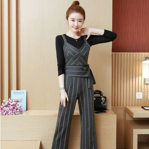 YICIYA Business Women outfits tracksuit sportswear Striped top and bib pants suits 2 piece set co-ord set OL Office 2019 clothes