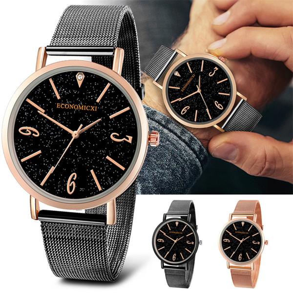 dos homens presentes simples Belt Ribbon Anolog Quartz Relógio de pulso Series Negócios Homens Relógios relojes hombre 2019 FJSL