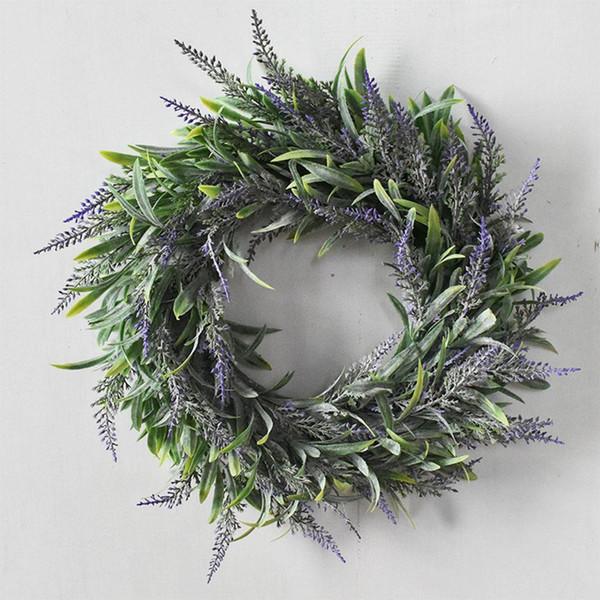 35CM 시뮬레이션 라벤더 화환 예쁜 보라색 화환 Floriation 집 웨딩 사진 소품에 대한 펜던트 장식을 매달려
