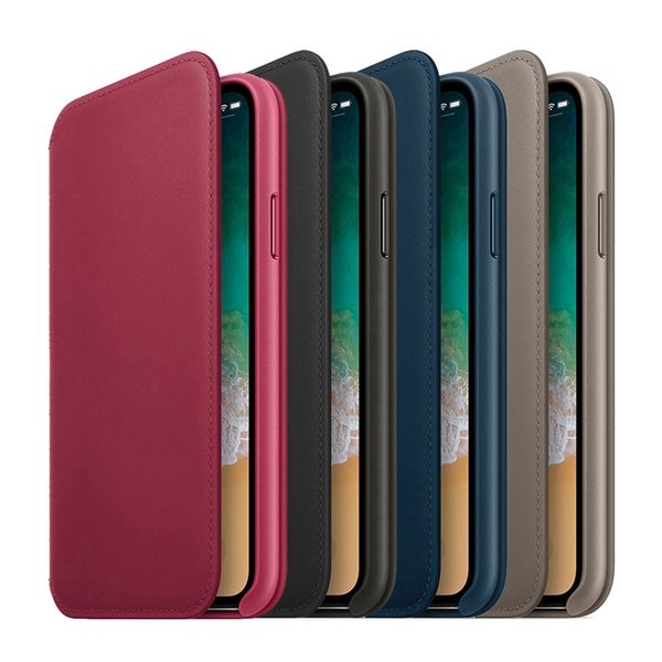 Wallet Leather Case for iPhone x Stand Flip Leather Cover with Sign Card Slot Holder Retail Packing Box