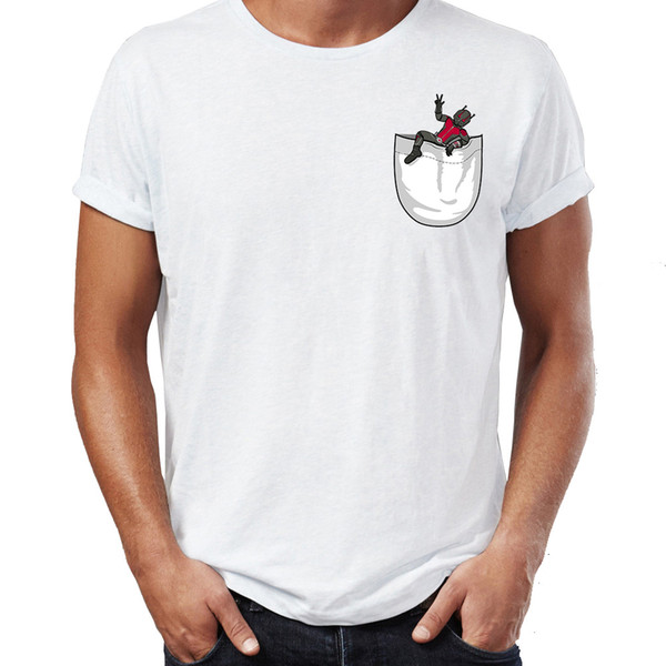 De nouvelles manches courtes T-shirt pour hommes Antman Antman Pocket-shirt drôle Artsy T-shirt Harajuku Streetwear cools Tops