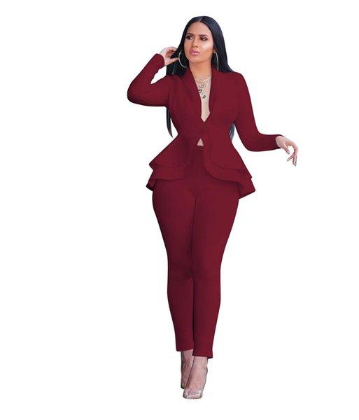 red female suit