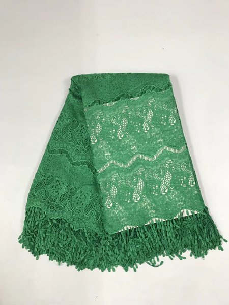 High quality polyester nigerian wedding african lace fabric/ guipure cord lace fabric for party dress in Green color R19572