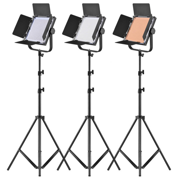 LED Video Light Panel 25W Dimmable 340pcs Beads Metal Light Stand/U-Bracket/Barn Door/Filter/Carry Bag Camcorder Studio Photo Lighting