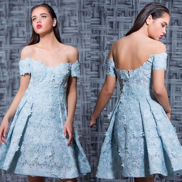 2019 magníficos vestidos de noche fuera del hombro apliques de encaje abalorios fiesta vestidos del desfile vestido de la celebridad hasta la rodilla vestidos de baile