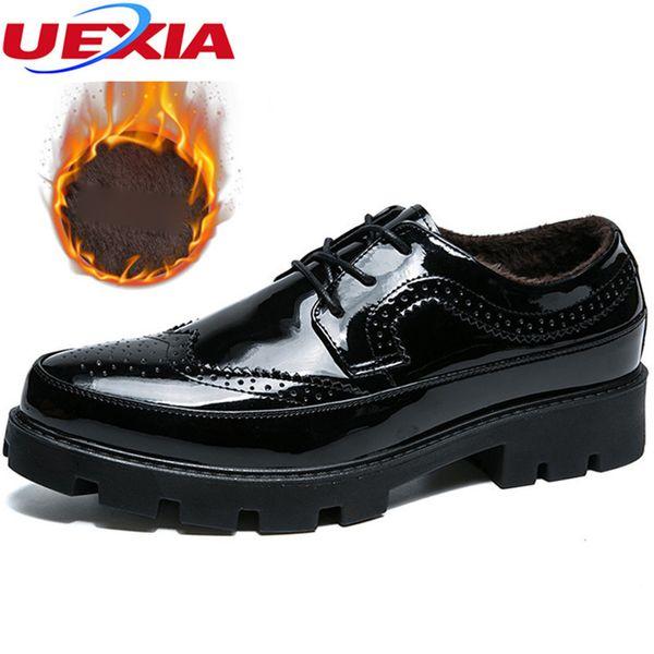 UEXIA Flats Shoes Men Winter Plush Warm With Fur Lace Up Dress Business Wedding Increase High Top Fashion Men Shoes TPU Soles