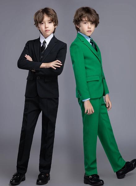 4 Pieces Child Suits Wedding Boy Suits Jacket Pant Vest kid Formal Dress School Student Party Costumes (Jacket+Pants+Vest+Bow)