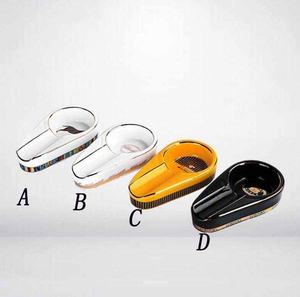 COHIBA Cigar Gadgets Ceramic Cigar Ashtray Single Cigar Holder Round Ash Slot 3 Colors Yellow Tobacco Cigarette Ashtray Gift Box Fashion