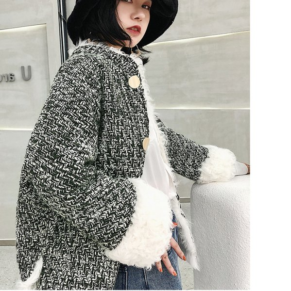 2019 spring autumn new fashion women casual wool plaid fur korean coat  women's wool coat tweed homespun e502