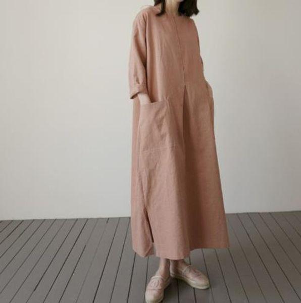 MQ cotone e lino vestono lungo tratto versione femminile coreana della gonna casuale grande tela tasca grande modo di formato allentato