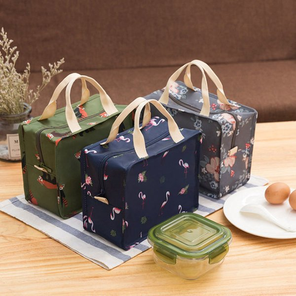 Portable Large Capacity Students School Thermal Lunch Box Bags Polyester Insulation Office Food Organizer Handbag C19021301