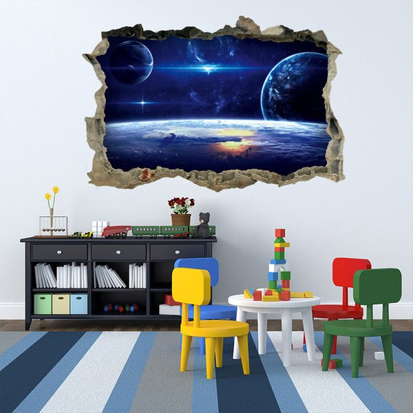 cartoon universe Space wall sticker broke 3d removable wall decals for kids room children bedroom living home decor