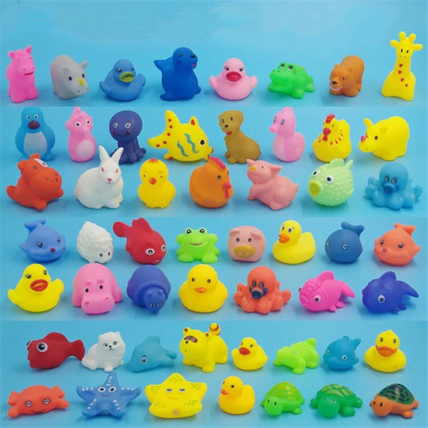 50+ reloj Wholesale Baby Bath Toys Shower Water Floating Squeaky Yellow Ducks Cute Animal Baby Shower Toys Rubber Water Toys Free Shipping