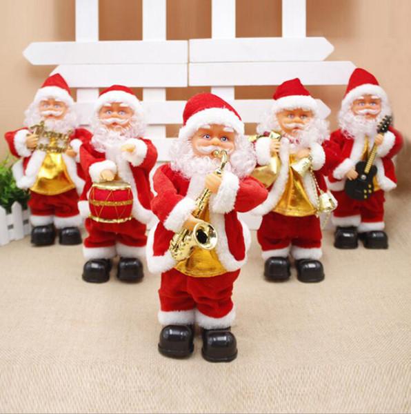 Elektrischer Weihnachtsmann Toy 5 Styles Kreative Weihnachten Gitarre Drum Singen Tanzen Musikinstrument Kind-Geschenk Weihnachten Supplies OOA7411-55