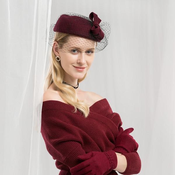 Dame Fedoras Hüte Mädchen Mode Wolle Schleier Hüte Weibliche Britische Bowknot Garn Net Woolen Bankette Formelle Kleidung Hut Anpassen A31