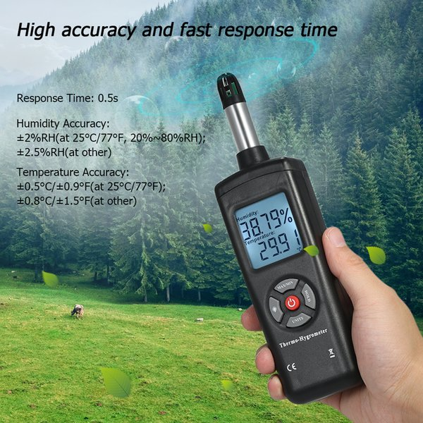 Hot sale temperature instruments Digital Thermometer Hygrometer Humidity & Temperature sensor pyrometer Psychrometer Wet Bulb Dew Point free