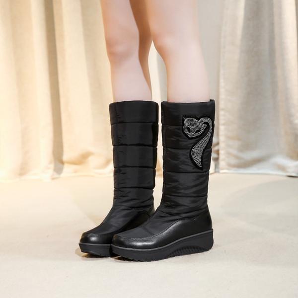 ba7df8e84 SARAIRIS 2019 добавить плюшевые Женская обувь скольжения на середине икры  сапоги женщина теплая обувь женщина Россия