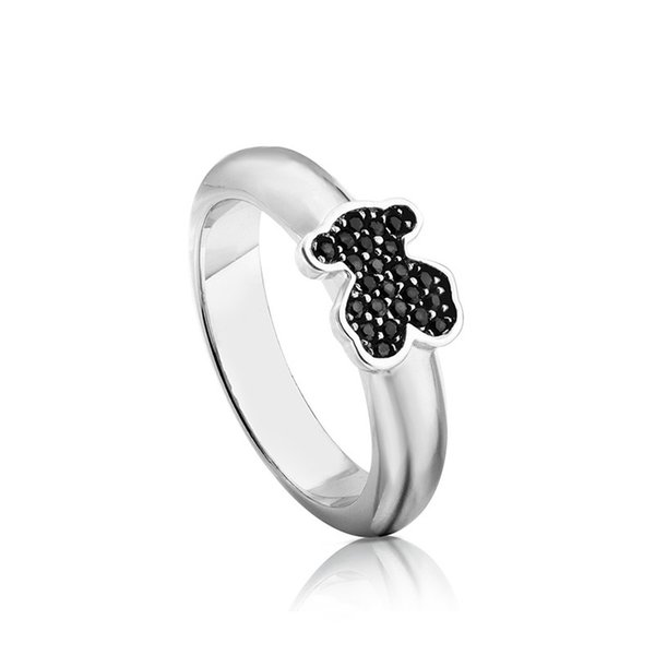 DORAPANG NEW 100% 925 Sterling Silver Black Glitter Zirconia Charm Bear Simple Fashion Ring Retro Charm Birthday Gift Original