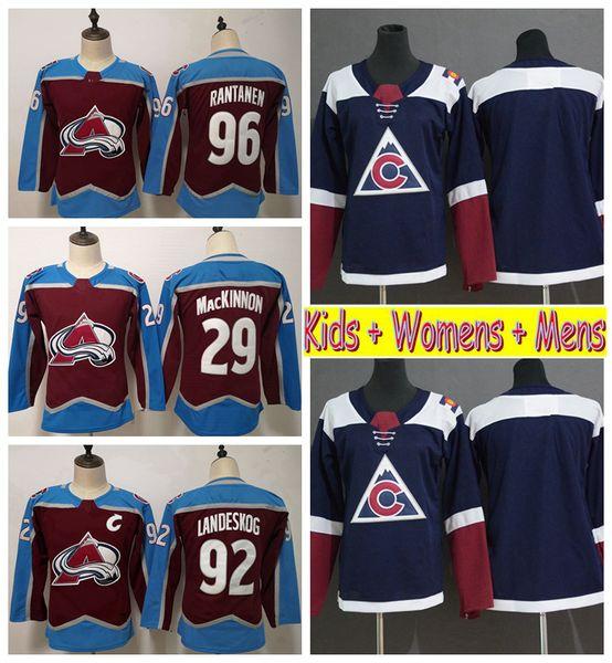 2019 Youth Colorado Avalanche Hockey Jerseys Home 29 Nathan MacKinnon 92 Gabriel Landeskog 96 Mikko Rantanen Kids Womens Mens Hockey Shirts