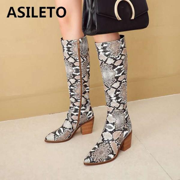 ASILETO genuíno botas de cobra de couro de Vaca mulheres botas de joelho bloco de saltos ocidental longo zíper Bota apontou dedo grande tamanho 43 botas