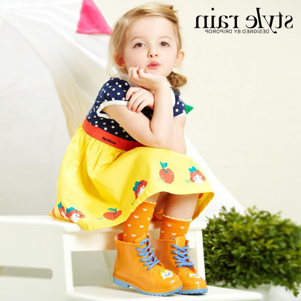 Hot Sale-Cartoon Multicolour Rain Martin Boots Kid Boys Girls Babies Cute Waterproof Slip Shoes 2016 New kinderen regenlaarzen Animals Color