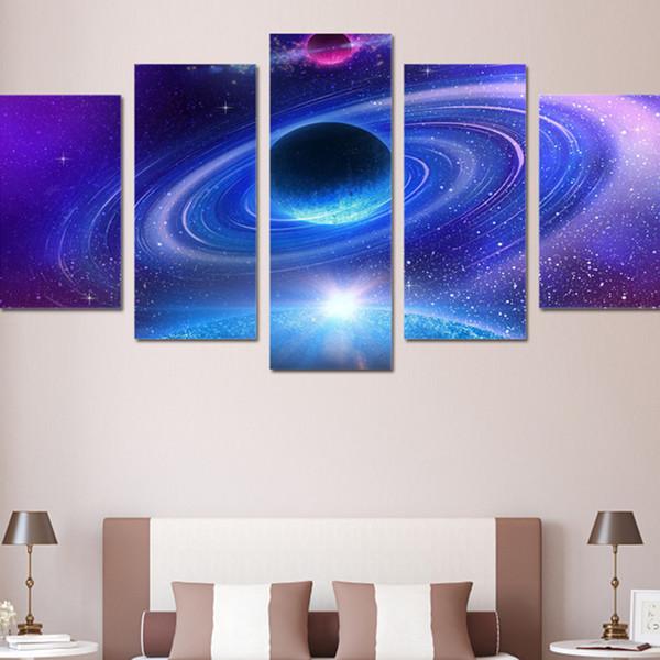 Cartazes Decoração para casa Wall Art Pictures Lona 5 Painel Azul Roxo Cosmos Planeta Paisagem Moderna HD Impresso Pintura Modular