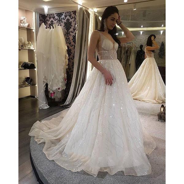 Sexy Durchsichtig Plus Size Brautkleider Eine Linie Backless Sweep Zug Glitter Stoff Vestido De Novia Brautkleider