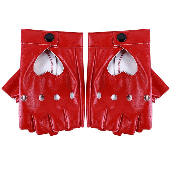 Bigsweety Women Pu Leather Gloves Luvas Guantes Mujer For Women Girls Red Balck White Loving Heart Gloves