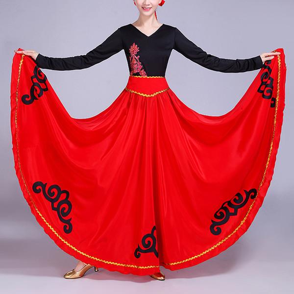 High Waist Luxury Cloud Print Satin Silk Spain Traditional Spanish Flamenco Skirt Woman Ballroom Belly Dance Oriental Costumes