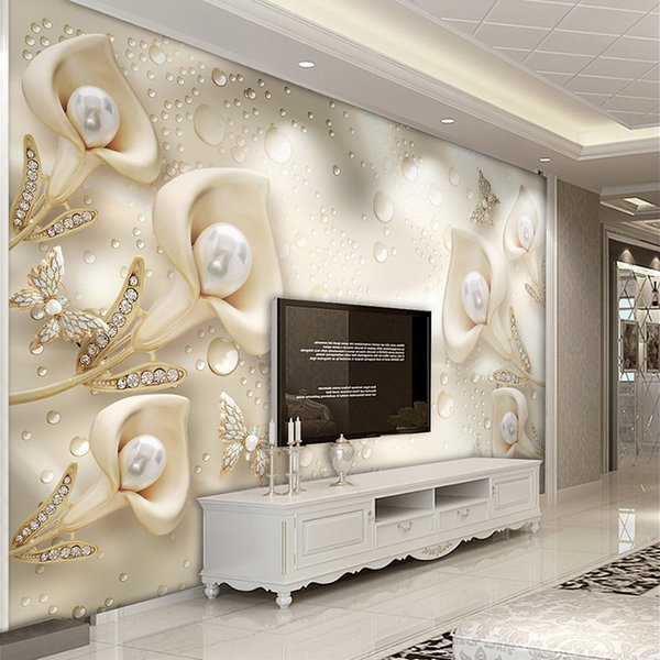 Custom 3D Mural Wallpaper European Style Calla Lily Butterfly Water Drop Silk Wallpaper Hotel Living Room TV Backdrop Home Decor
