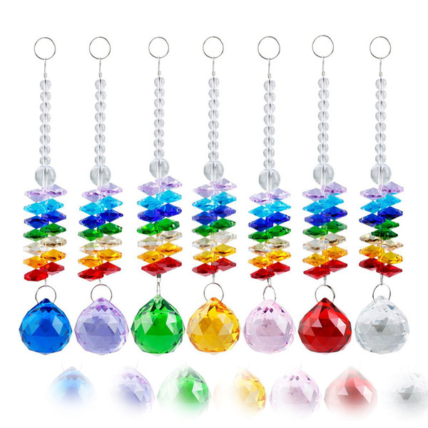 7PCS Clear 40mm K9 Crystal Ball Pendant Hanging Rainbow Suncatcher Handcrafts Christmas Glass Ornaments Gift W026-40mm