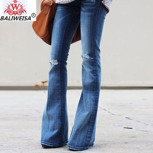 2019 New High Waist Pants Plus Size Womens Elastic Jeans Spring Women Street Style Sexy Flare Pant Hole Girl Office Rock Vintage