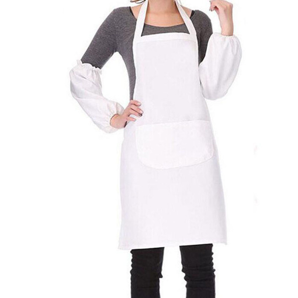 best selling Halter-neck Style Sleeveless Kitchen Cooking Apron with Pocket Home Restaurant White Cloth Lady Men Women Aprons QW9657