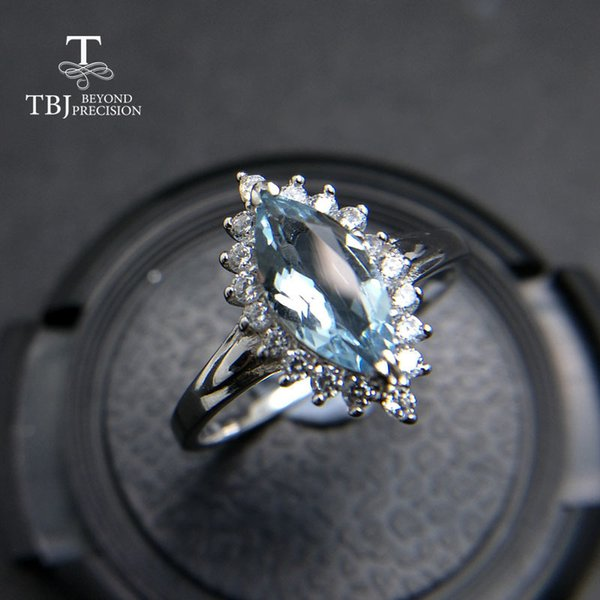 Tbj,100% Natural Brazil Aquamarine Mq5*10 0.75ct Diana Gemstone Ring In 925 Sterling Silver Precious Stone Jewelry With Gift Box J 190430
