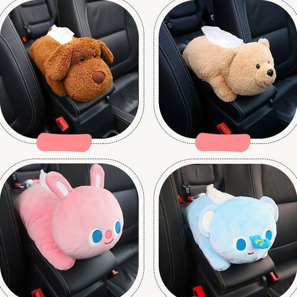 Creative Car Armrest Box Cartoon Tissue Box Multifunctional Cute Husky Brown Bear Car Tissue Cover
