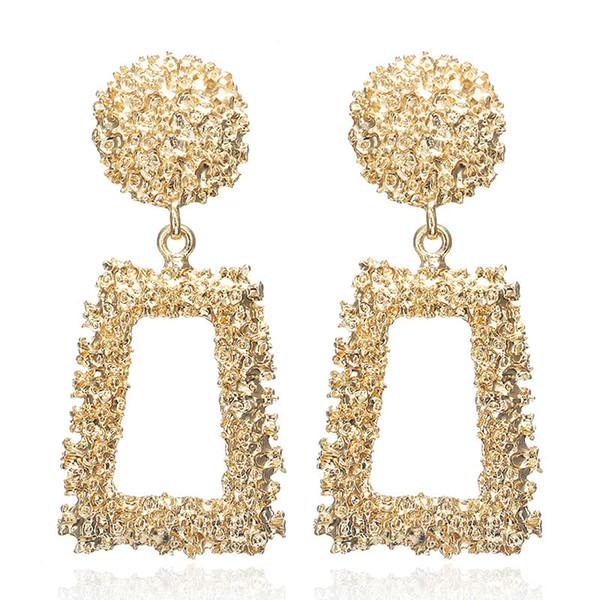 Große Vintage Ohrringe für Frauen Gold Farbe geometrische Anweisung Ohrring 2019 Metall earing hängenden Modeschmuck Trend