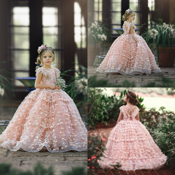 Cute Pink Lace 2020 Flower Girl Dresses