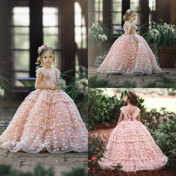 Cute Pink Lace 2020 Flower Girl Dresses 3D Floral Appliqued Manches Courtes Petits Enfants Robes De Mariée Belles Filles Pageant Robe Robe De Soirée