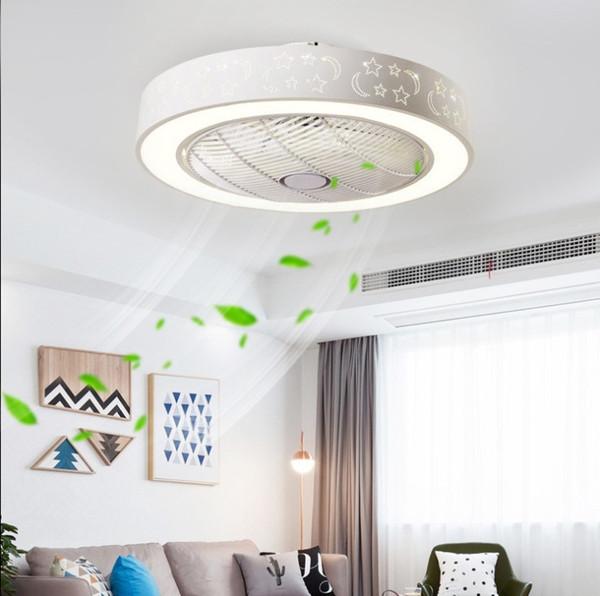 Невидимый потолочный вентилятор фары привели гостиной спальни современные минималистские ресторан свет бытовой пульт вентилятор Потолочные вентиляторы 60см * 60см