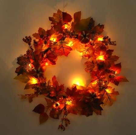 Maple Leaf Christmas Wreath Home Decoration Shopping Mall Decoration Pendant Festival Supplies Rattan Wreath with LED Lights