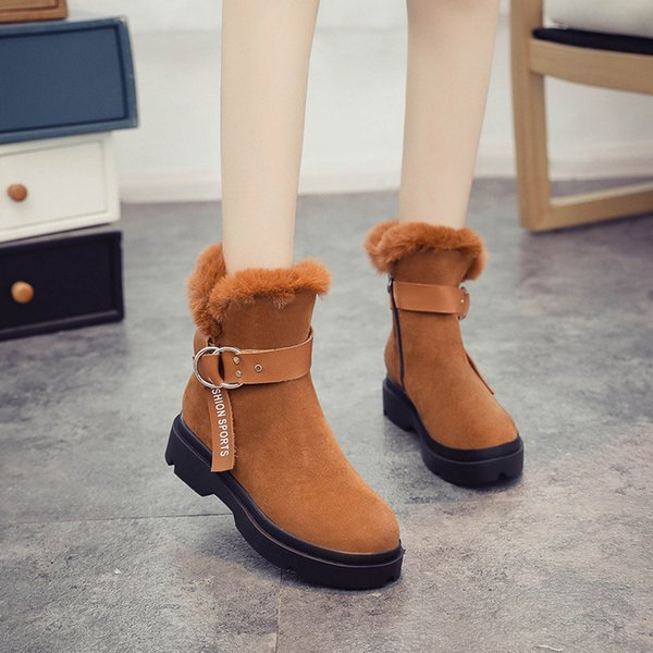 2018 Winter New Korean Snow Boots Female Boots Short Tube Cotton Shoes Students Flat To Keep Warm