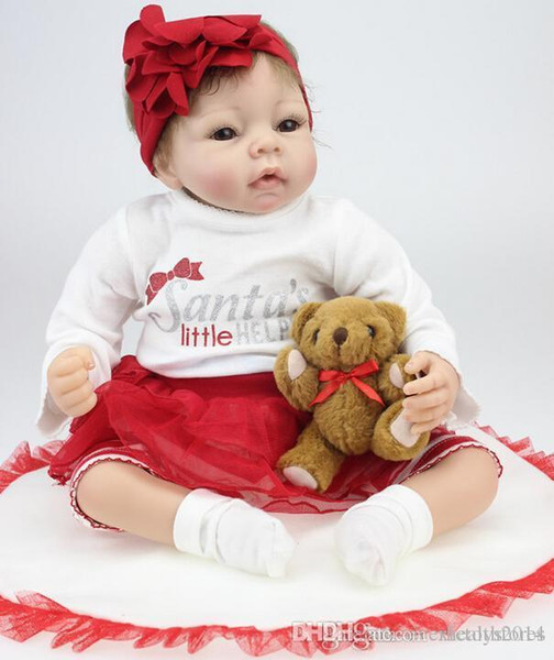 New hot sale 22 Inches Silicone Reborn Baby Dolls Realistic Hobbies Handmade brinquedos newborn Doll bebe bjd doll reborn