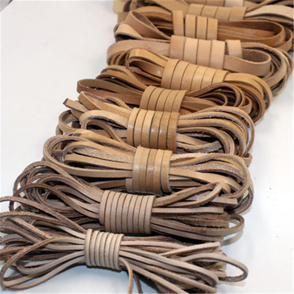 2m/lot 2mm 3mm 4mm 5mm 6mm 8mm Flat Genuine Cow Leather Cord Bracelet Necklace Findings Leather Rope String Diy Jewelry Making
