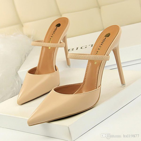 2019 neue Sommer weibliche Sandalen Spitz High Heels Nude Farbspitze mit 8,5 cm fein mit High Heels Formal Dress Party 86-10